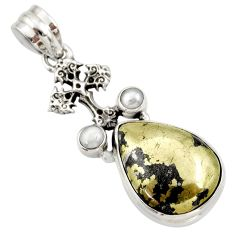 925 silver 16.17cts natural golden pyrite in magnetite holy cross pendant d42328