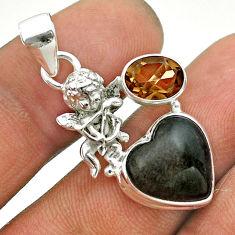 925 silver 7.30cts natural golden sheen black obsidian angel pendant t55329