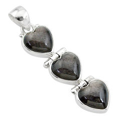 925 silver 14.12cts 3 hearts golden sheen black obsidian heart pendant t22184