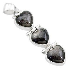 925 silver 14.07cts 3 hearts golden sheen black obsidian heart pendant t22193