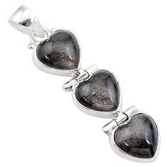 925 silver 14.52cts 3 hearts golden sheen black obsidian heart pendant t22196