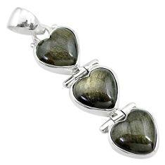 925 silver 13.73cts 3 hearts golden sheen black obsidian heart pendant t22207