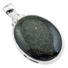 925 silver 19.23cts natural golden sheen black obsidian oval pendant t42588