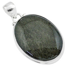 925 silver 17.65cts natural golden sheen black obsidian oval pendant t42593