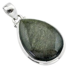 925 silver 18.70cts natural golden sheen black obsidian pear pendant t42543
