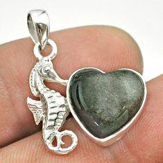 925 silver 5.54cts natural golden sheen black obsidian seahorse pendant t55243