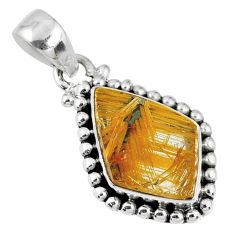 925 silver 7.50cts natural golden star rutilated quartz fancy pendant r60236