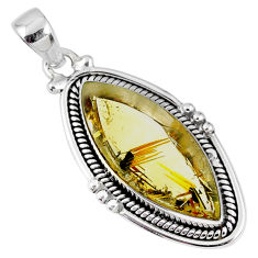 925 silver 13.85cts natural golden star rutilated quartz marquise pendant r60405