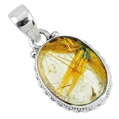 925 silver 11.57cts natural golden star rutilated quartz oval pendant r60184