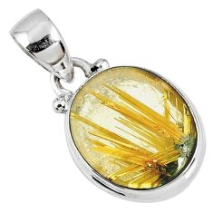 925 silver 7.42cts natural golden star rutilated quartz oval pendant r60224