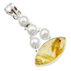 Clearance Sale- 925 silver 17.57cts natural golden tourmaline rutile white pearl pendant d44796