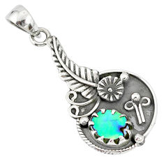 925 silver 2.20cts natural green abalone paua seashell flower pendant r77849