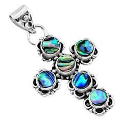 925 silver 3.58cts natural green abalone paua seashell holy cross pendant r55785