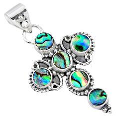 925 silver 4.48cts natural green abalone paua seashell holy cross pendant r55824