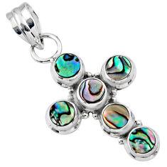 925 silver 3.91cts natural green abalone paua seashell holy cross pendant r55866