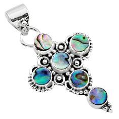 925 silver 4.02cts natural green abalone paua seashell holy cross pendant r55944