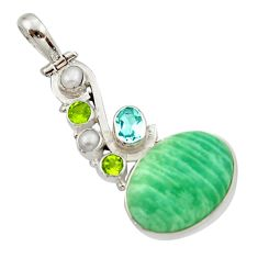 925 silver 19.12cts natural green amazonite (hope stone) topaz pendant d46704