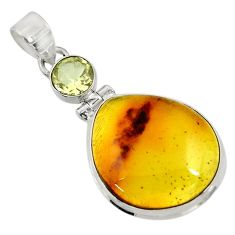 Clearance Sale- 925 silver 16.87cts natural green amber from colombia amethyst pendant d41288