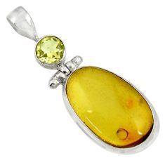 Clearance Sale- 925 silver 16.49cts natural green amber from colombia amethyst pendant d41291