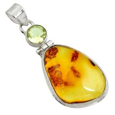 925 silver 17.42cts natural green amber from colombia amethyst pendant d41299