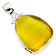 925 silver 14.09cts natural green amber from colombia fancy pendant r36004