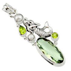 925 silver 13.41cts natural green amethyst peridot fairy mermaid pendant r19110