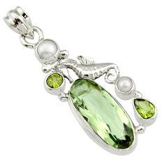 925 silver 12.31cts natural green amethyst peridot pearl seahorse pendant r19114