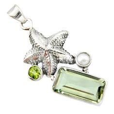 925 silver 9.65cts natural green amethyst peridot pearl star fish pendant r20496