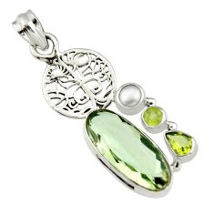 925 silver 11.44cts natural green amethyst peridot tree of life pendant r19117