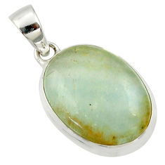925 silver 16.20cts natural green aquatine lemurian calcite oval pendant r39944