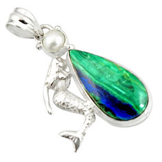 925 silver 18.47cts natural green azurite malachite fairy mermaid pendant r20338