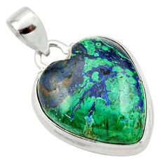 925 silver 19.23cts natural green azurite malachite heart pendant r33863
