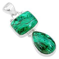 925 silver 9.86cts natural green azurite malachite octagan pendant t21443