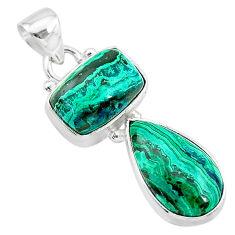 925 silver 9.10cts natural green azurite malachite octagan pendant t21463