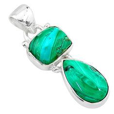 925 silver 8.32cts natural green azurite malachite octagan pendant t21477