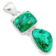 925 silver 9.33cts natural green azurite malachite octagan pendant t21487