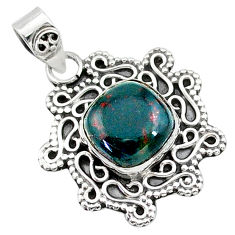 925 silver 5.03cts natural green bloodstone african (heliotrope) pendant t14490