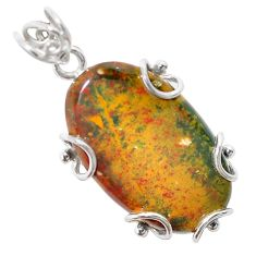 925 silver 22.30cts natural green bloodstone african (heliotrope) pendant t31883