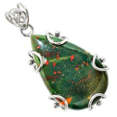 925 silver 25.00cts natural green bloodstone african (heliotrope) pendant t31886