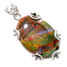 925 silver 30.97cts natural green bloodstone african (heliotrope) pendant t31889