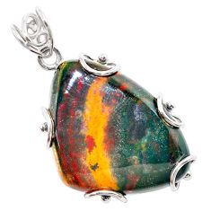 925 silver 33.87cts natural green bloodstone african (heliotrope) pendant t31892