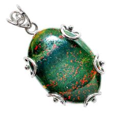 925 silver 31.99cts natural green bloodstone african (heliotrope) pendant t31895