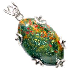 925 silver 35.58cts natural green bloodstone african (heliotrope) pendant t31898