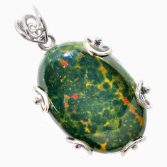 925 silver 38.45cts natural green bloodstone african (heliotrope) pendant t31900