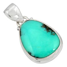 925 silver 12.22cts natural green campitos turquoise fancy shape pendant r20708