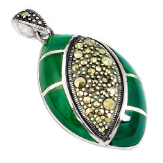 925 sterling silver 7.04cts natural green chalcedony marcasite pendant c16747