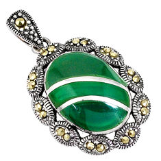 925 sterling silver 6.03cts natural green chalcedony marcasite pendant c16713