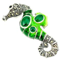 925 silver natural green chalcedony marcasite seahorse pendant jewelry c21046