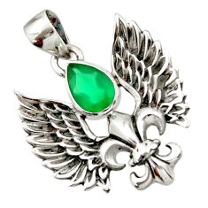 925 silver 2.27cts natural green chalcedony pear feather charm pendant d44844