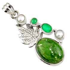 925 silver 16.93cts natural green chrome diopside deltoid leaf pendant d42560